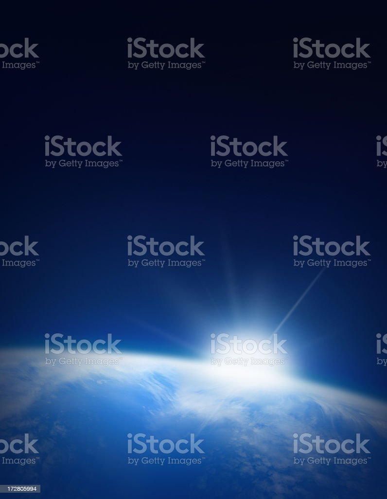 Earth with Rising Sun royalty-free stock photo