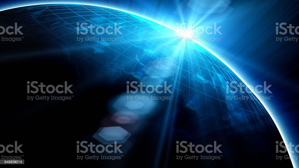 Earth with Rising Sun stock photo