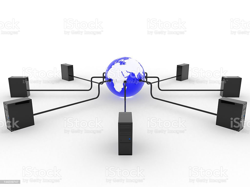 Earth with servers royalty-free stock photo