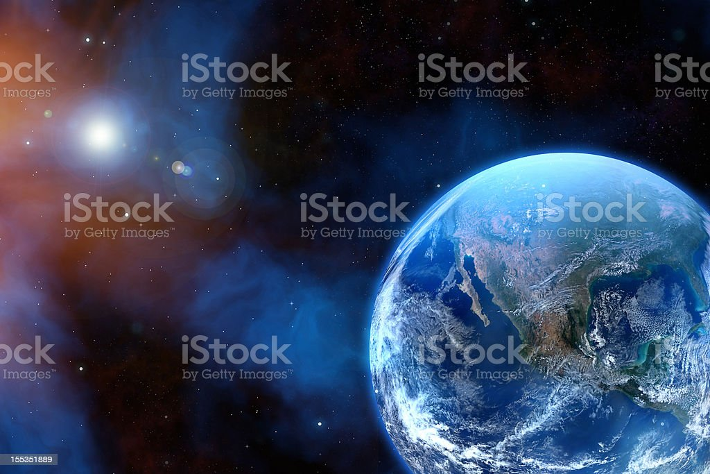 Earth with stars royalty-free stock photo