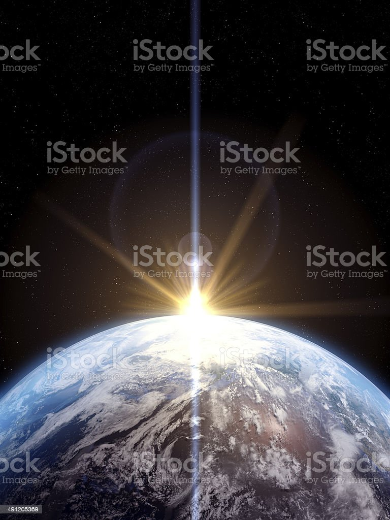 Earth With Sun Rising stock photo