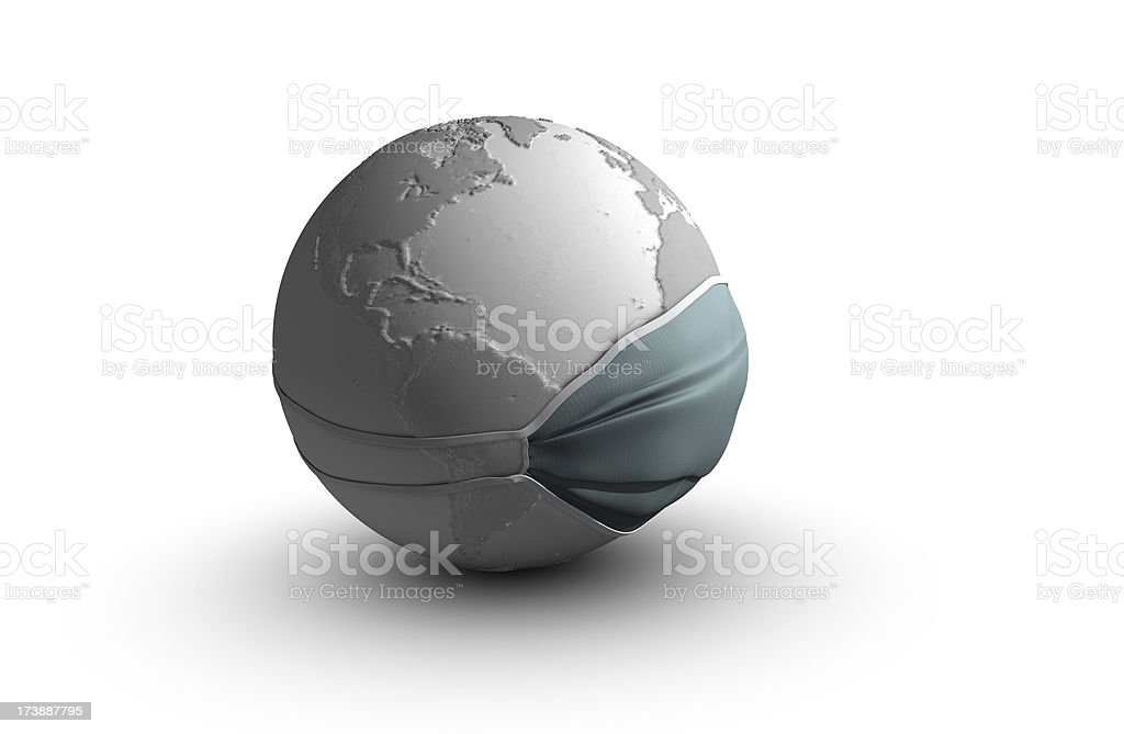Earth with surgical mask stock photo