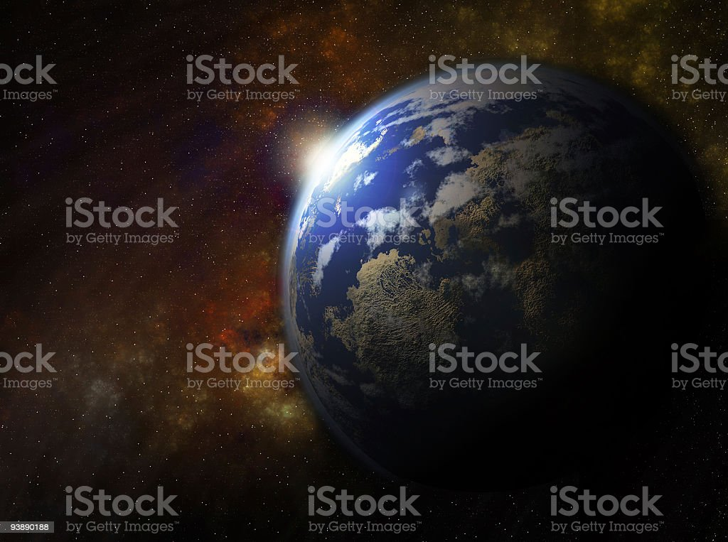 Earth with the rising sun royalty-free stock photo