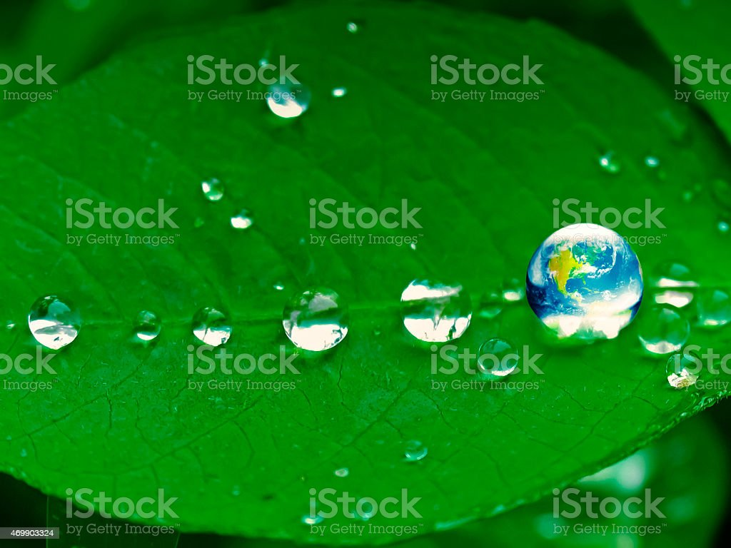 Earth with water droplets on leaf stock photo