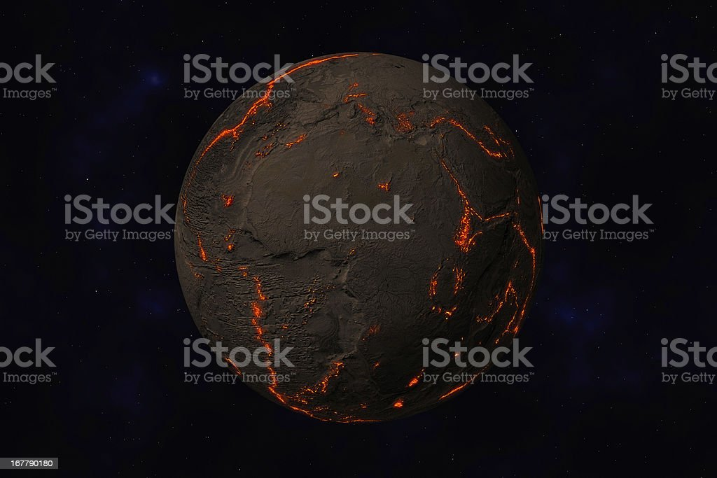 Earth without water and plants, Africa, Europe. Along stock photo