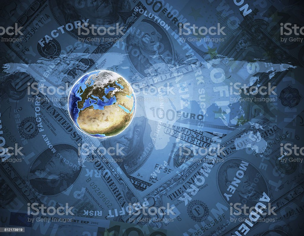 Earth, world map on money background stock photo