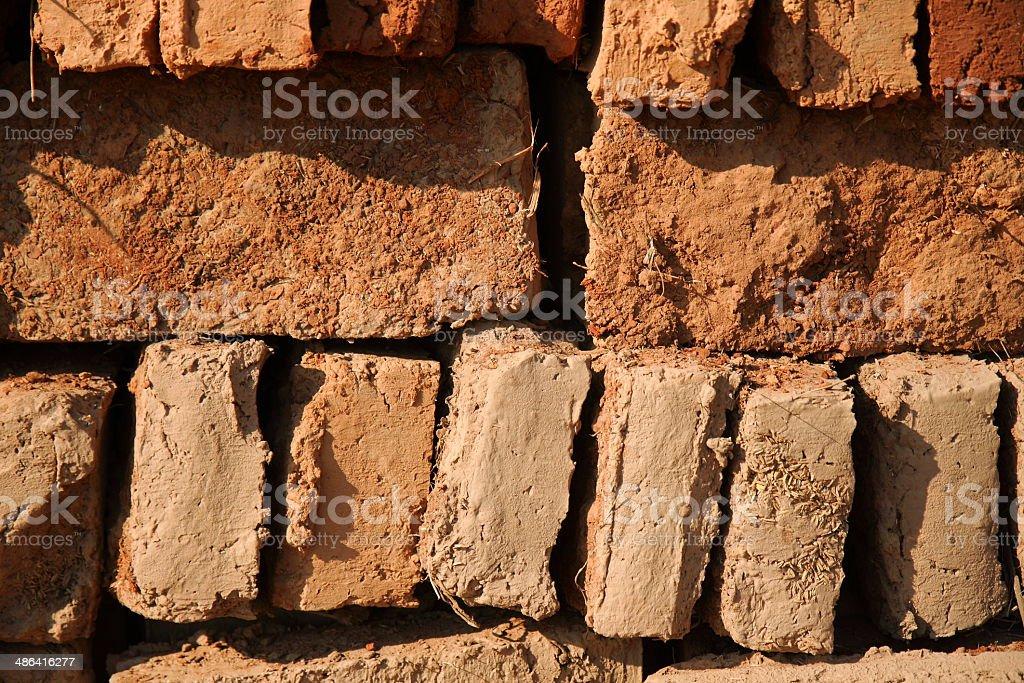 Earthen bricks stock photo