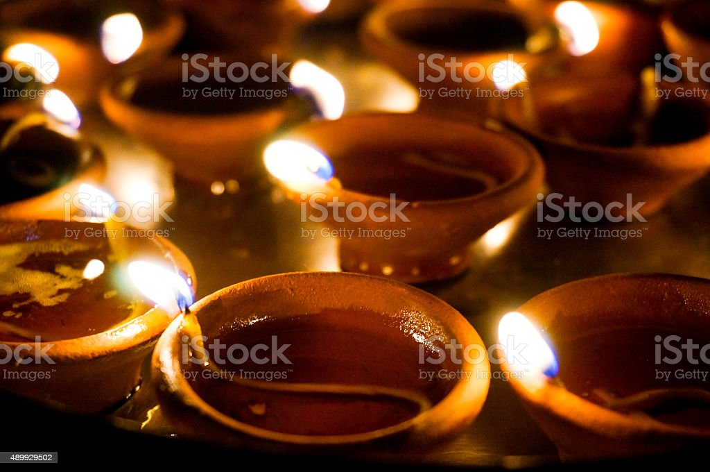 earthenware lamps for diwali stock photo