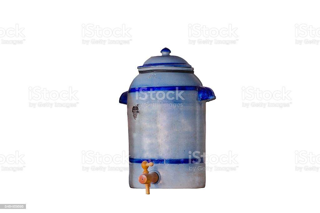 Earthenware pot as vinegar pot stock photo