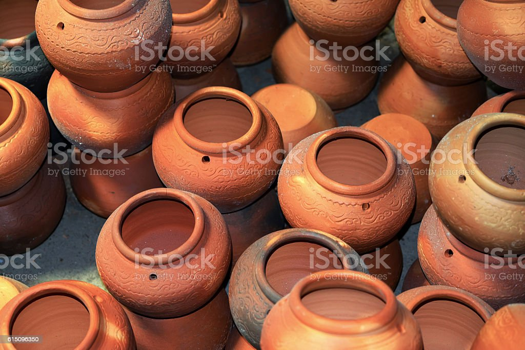 Earthenware Pottery is the art of handicrafts inThailand. stock photo