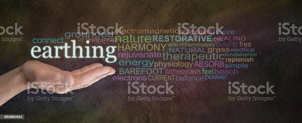 Earthing Word Cloud stock photo
