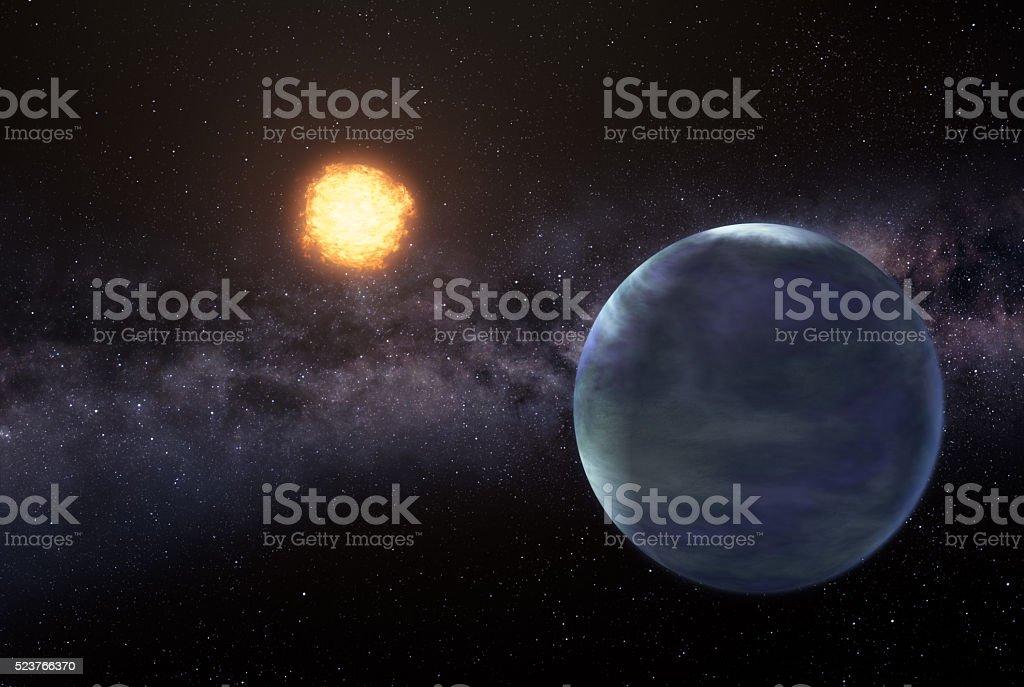 Earthlike planet in deep space stock photo