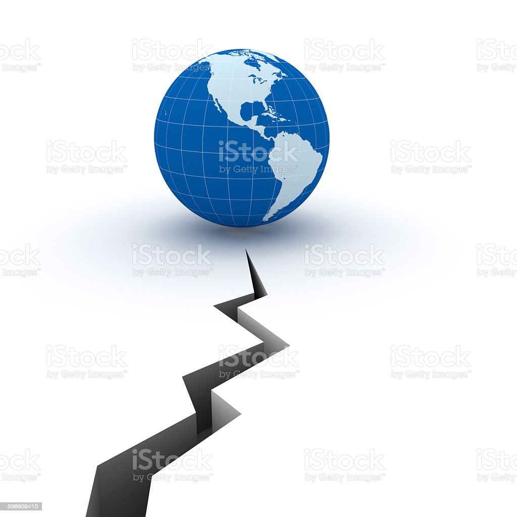Earthquake crisis global risk insurance concept stock photo