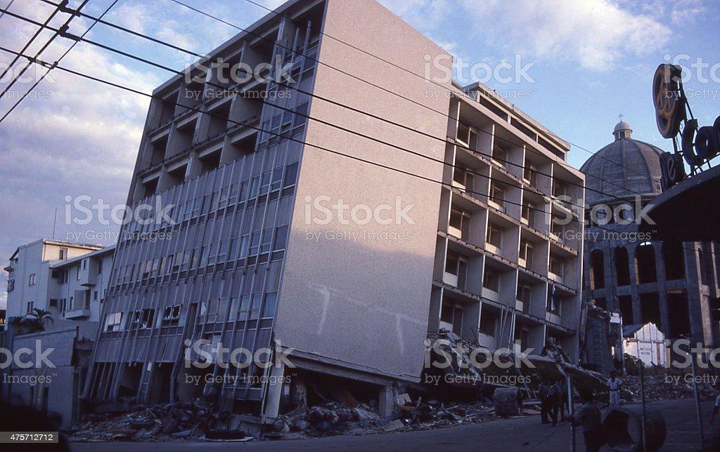 Earthquake Damage 1985 Downtown San Salvador El Salvador Central America stock photo