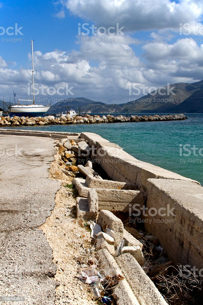 Earthquake damage in harbour stock photo
