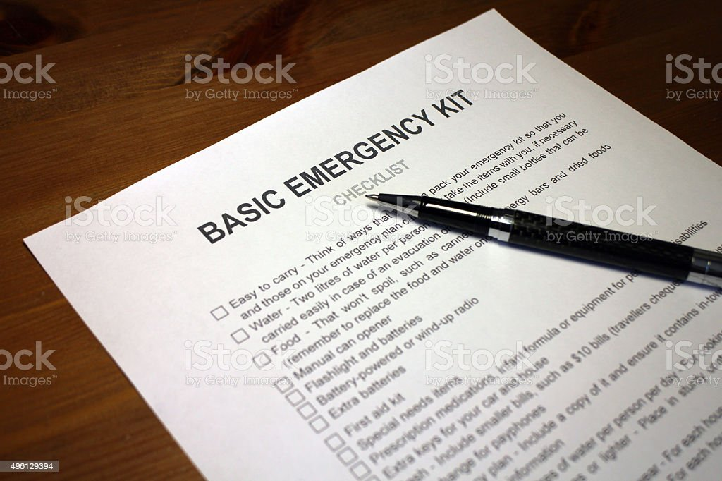 Earthquake Emergency Kit Checklist stock photo