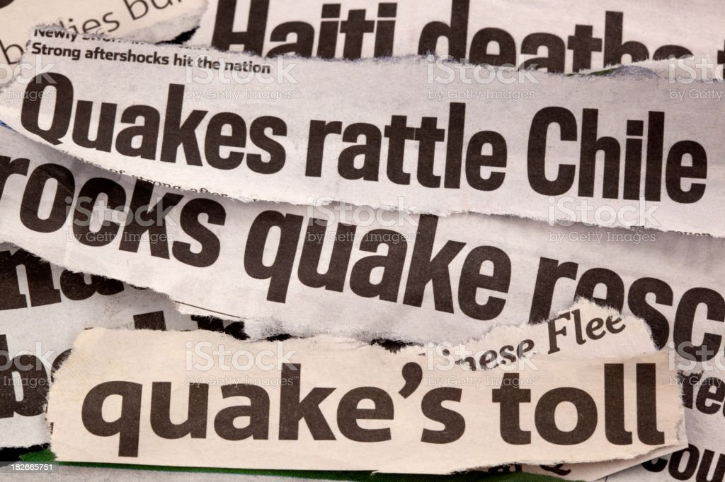 earthquake headlines royalty-free stock photo