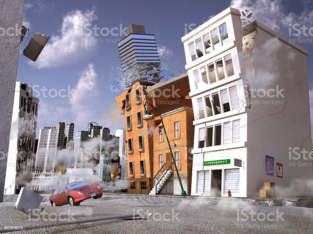 Earthquake in a city stock photo