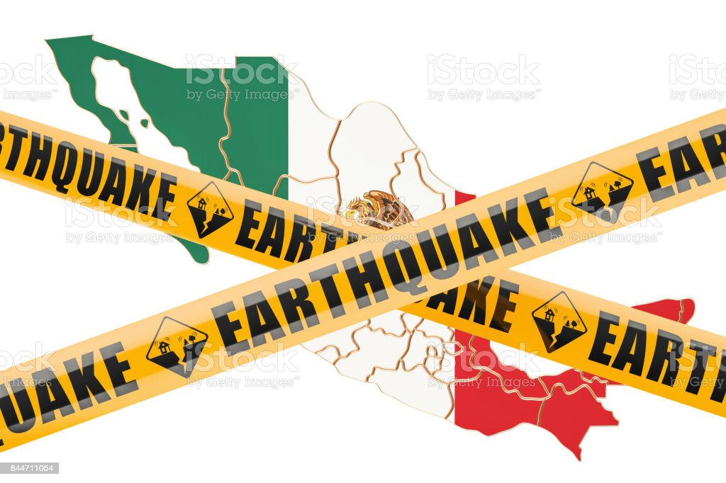 Earthquake in Mexico concept, 3D rendering isolated on white background stock photo