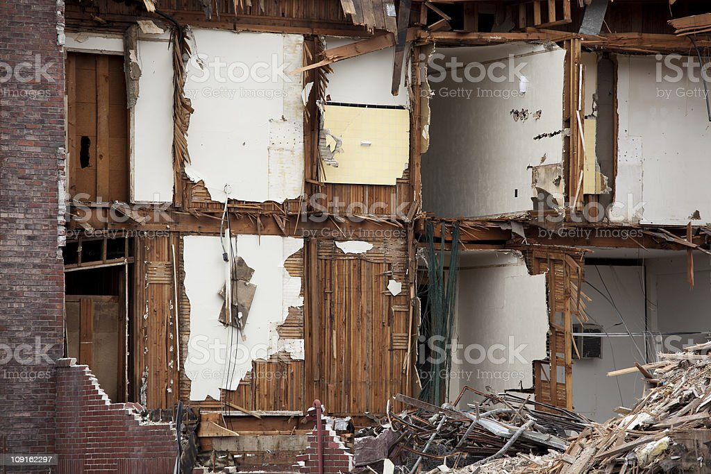 Earthquake or natural disaser destruction and aftermath; old brick building royalty-free stock photo