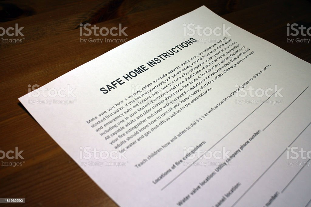 Earthquake Preparedness Instructions stock photo