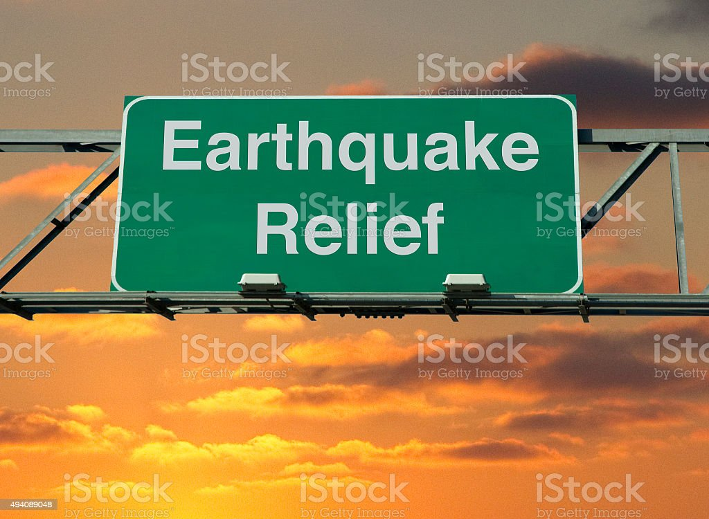 Earthquake Relief stock photo