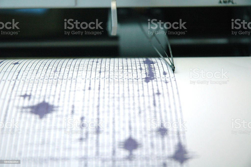 Earthquake seismogram recording by a seismograph image stock photo