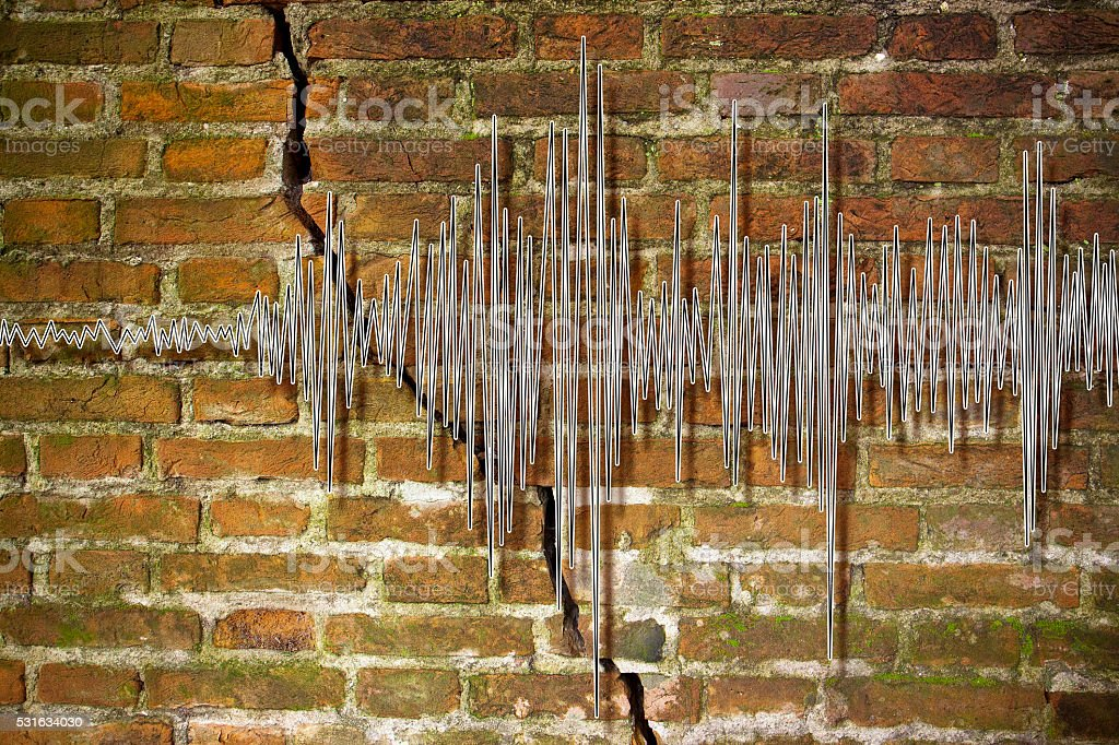 Earthquake wave graph concept image stock photo