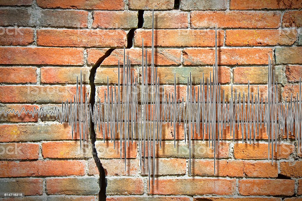 Earthquake wave graph stock photo