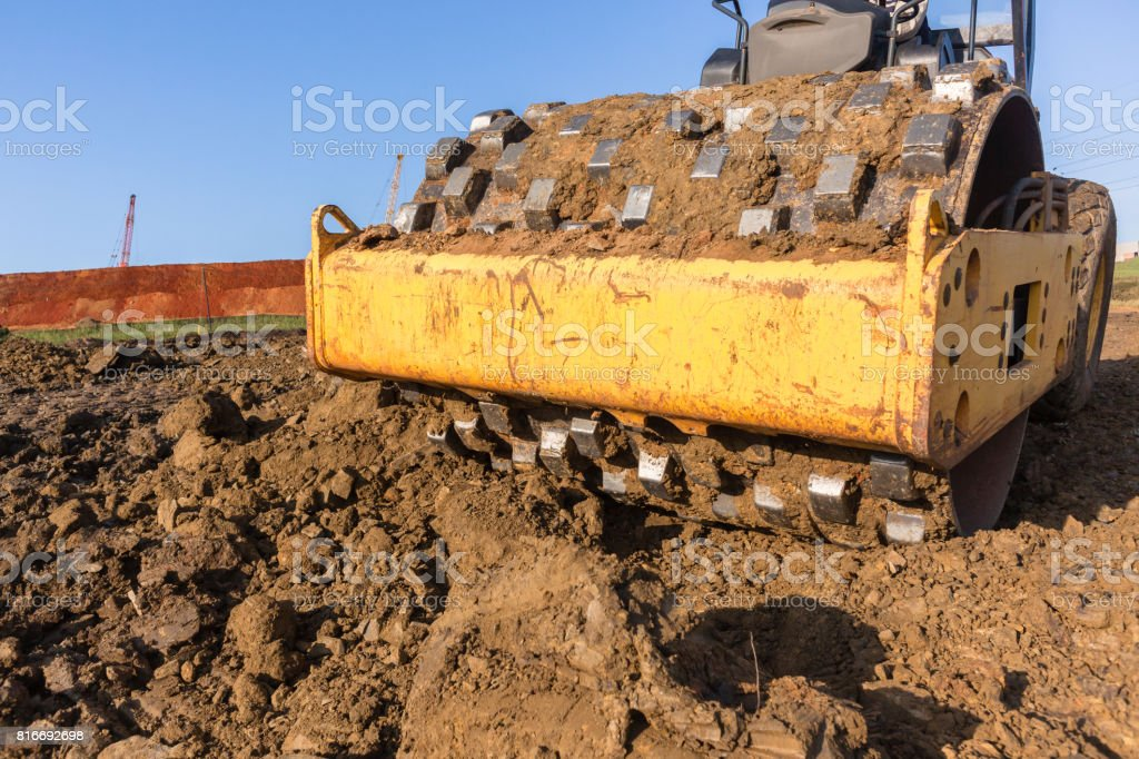 Earthworks Compactor Machine Closeup stock photo