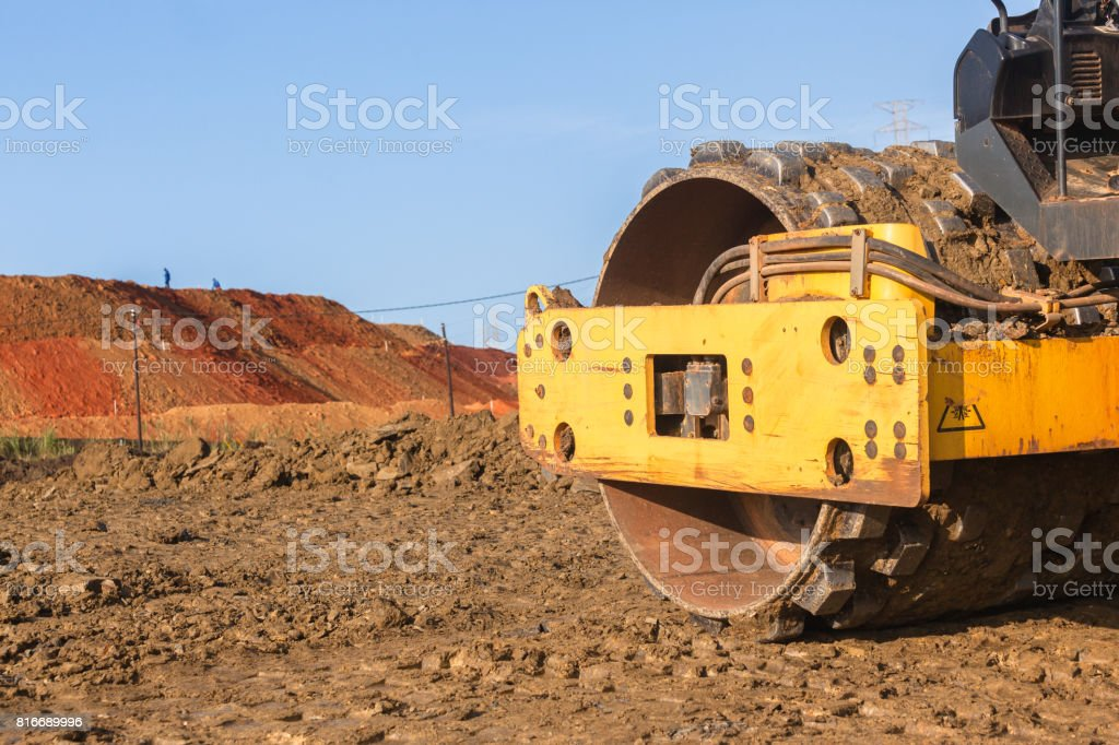 Earthworks Compactor Machine stock photo