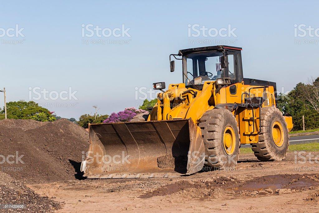 Earthworks Grader Scoop Bucket Machine stock photo