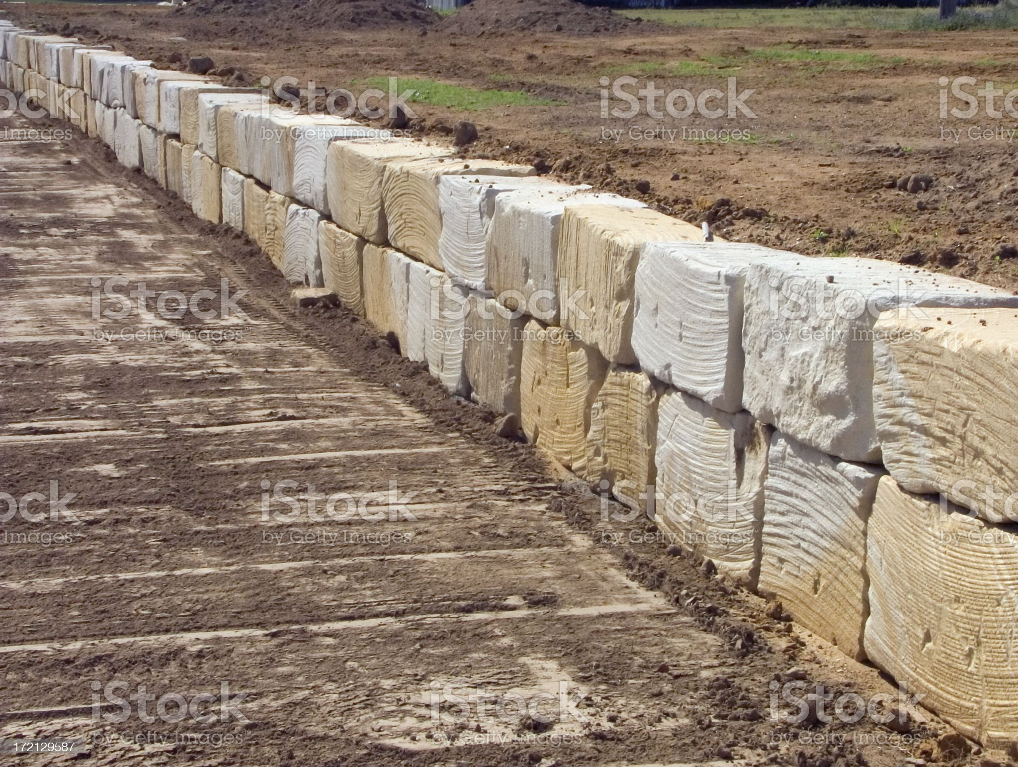 earthworks: heavy retaining wall, extended  view royalty-free stock photo