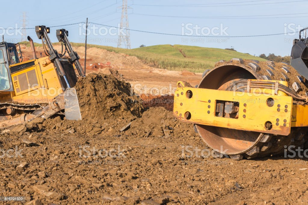 Earthworks Mover Compactor Machines stock photo