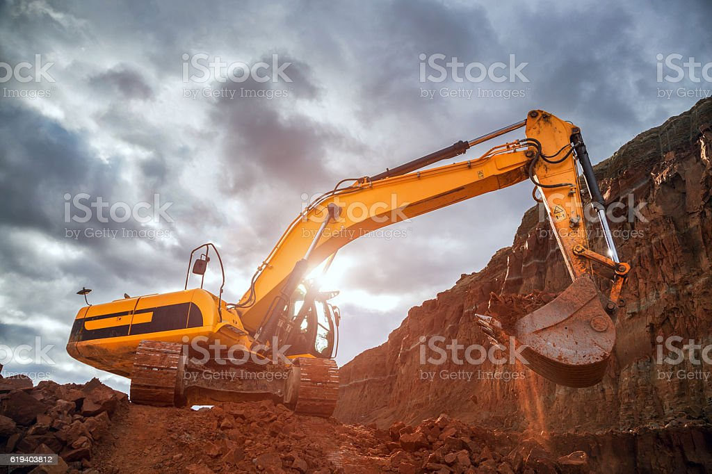 Earthworks with dramatic sky stock photo