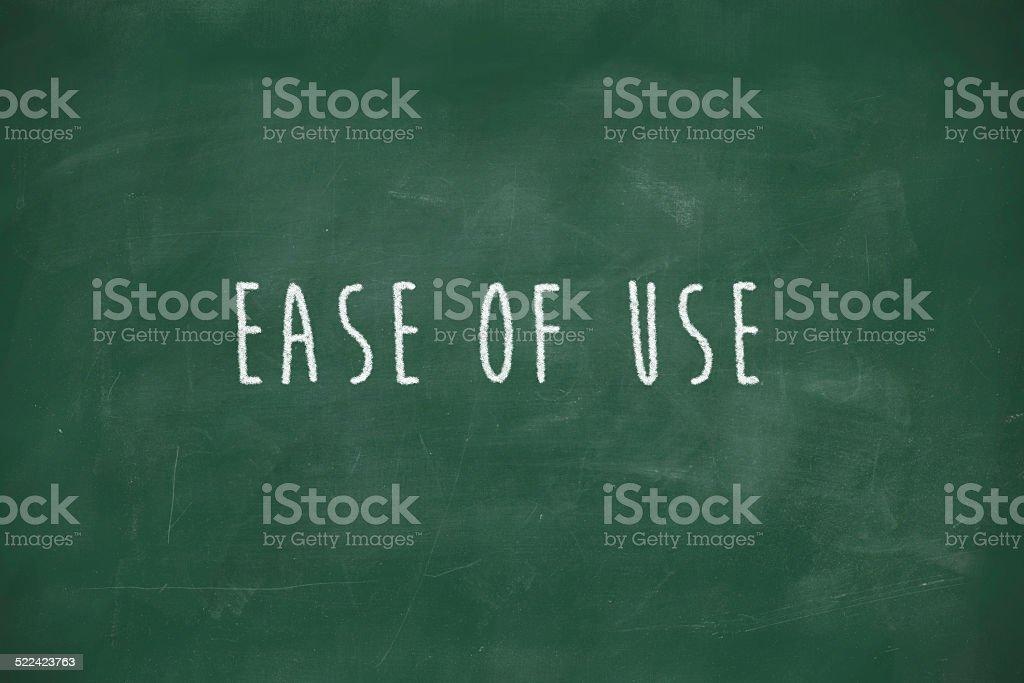 Ease of use handwritten on blackboard stock photo