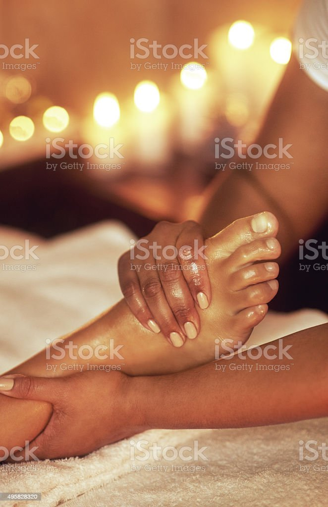 Ease the tightness of a long day stock photo
