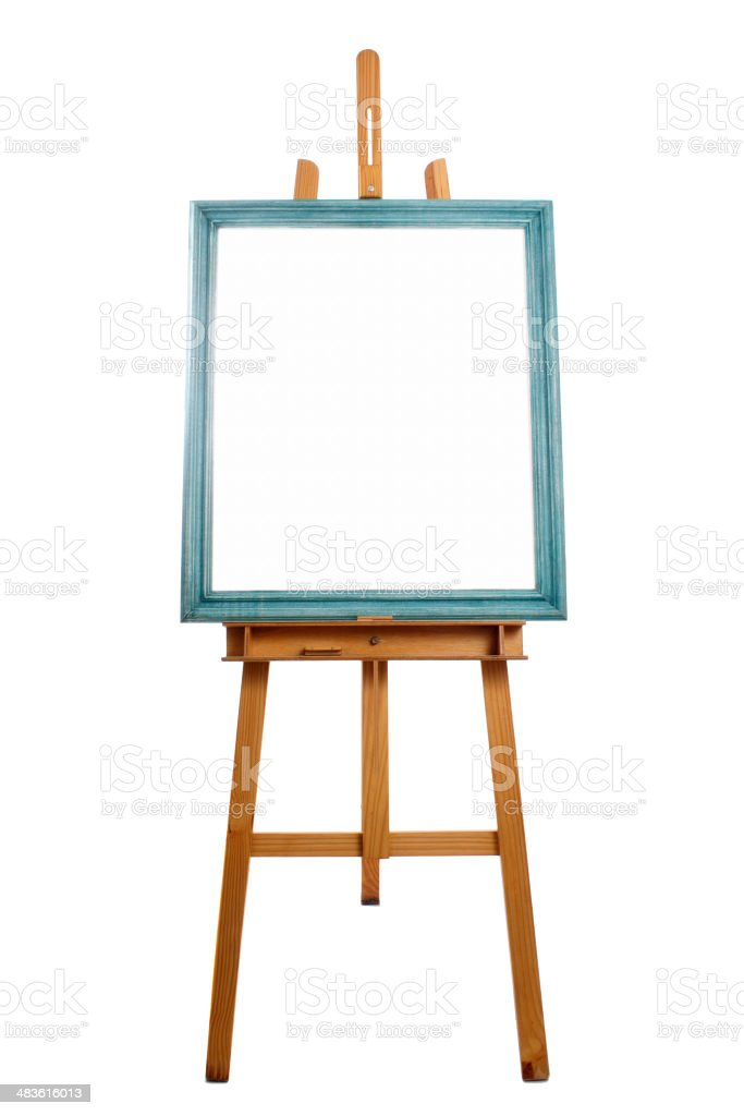 Easel and framed canvas royalty-free stock photo