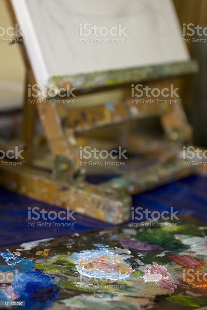 Easel and palette royalty-free stock photo