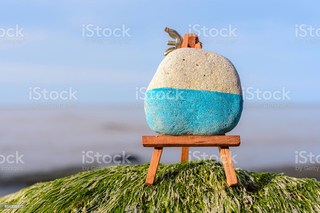 Easel on coast stock photo