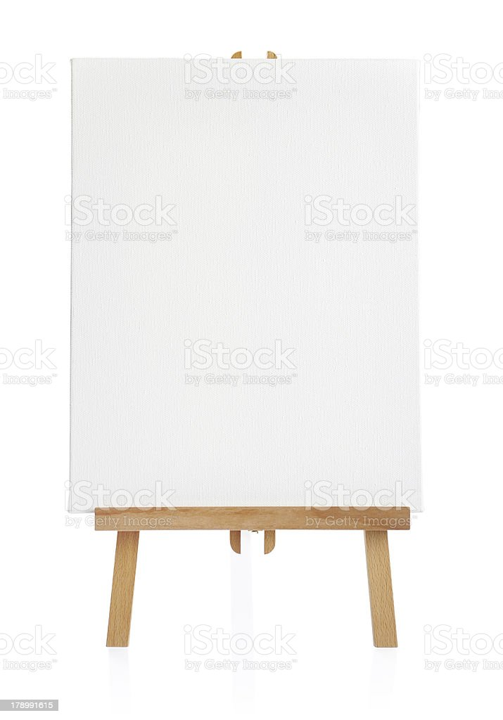 easel with blank canvas stock photo