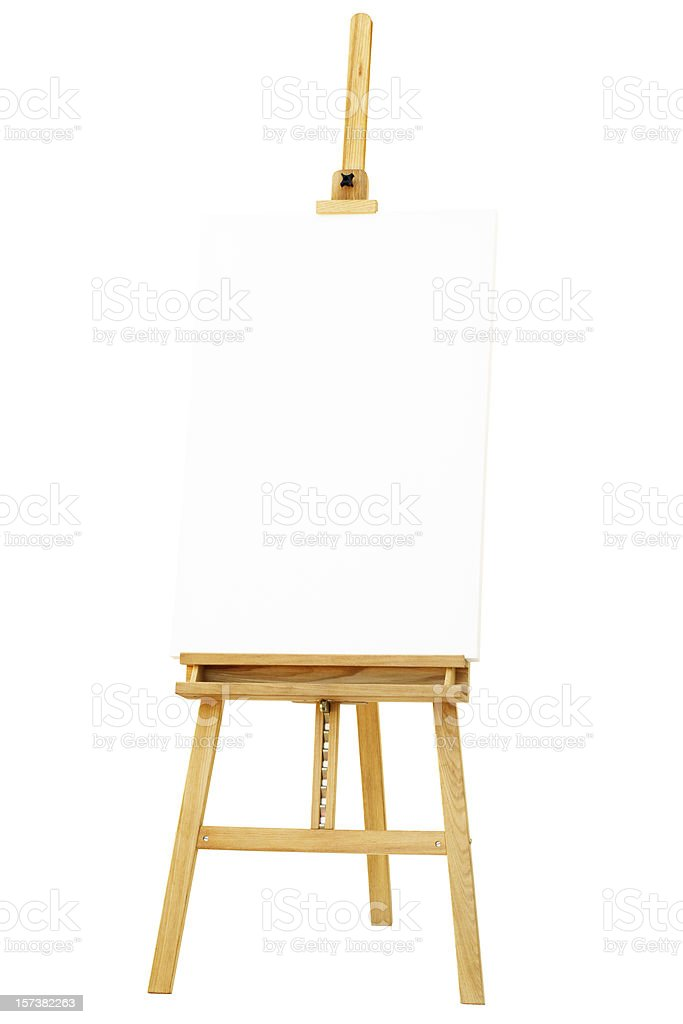 Easel with canvas, isolated on white background, path included royalty-free stock photo