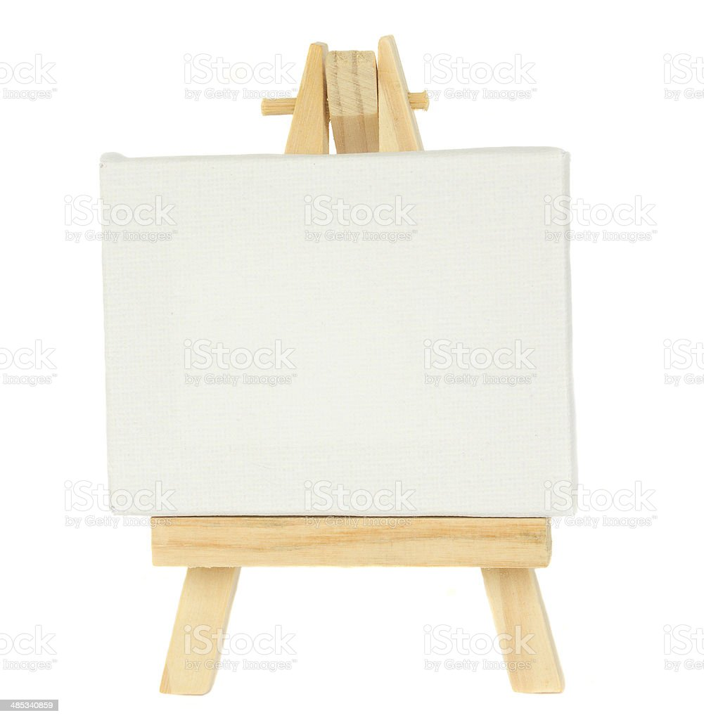 easel with empty canvas stock photo