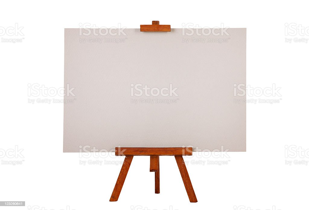 Easel with gray drawing paper royalty-free stock photo