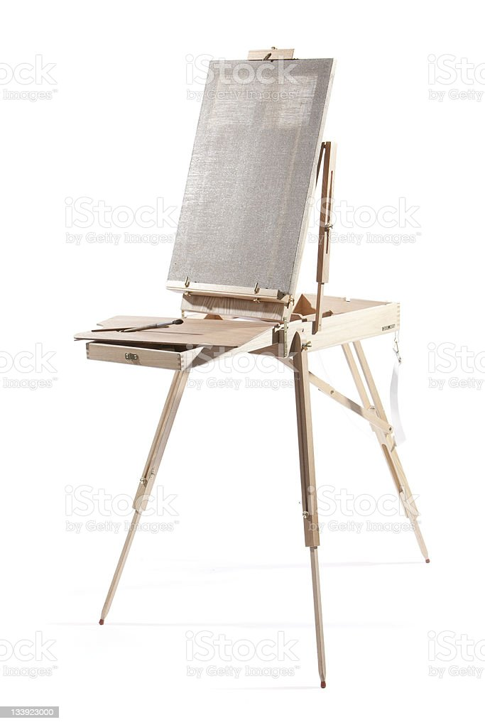 Easel with the blank canvas royalty-free stock photo