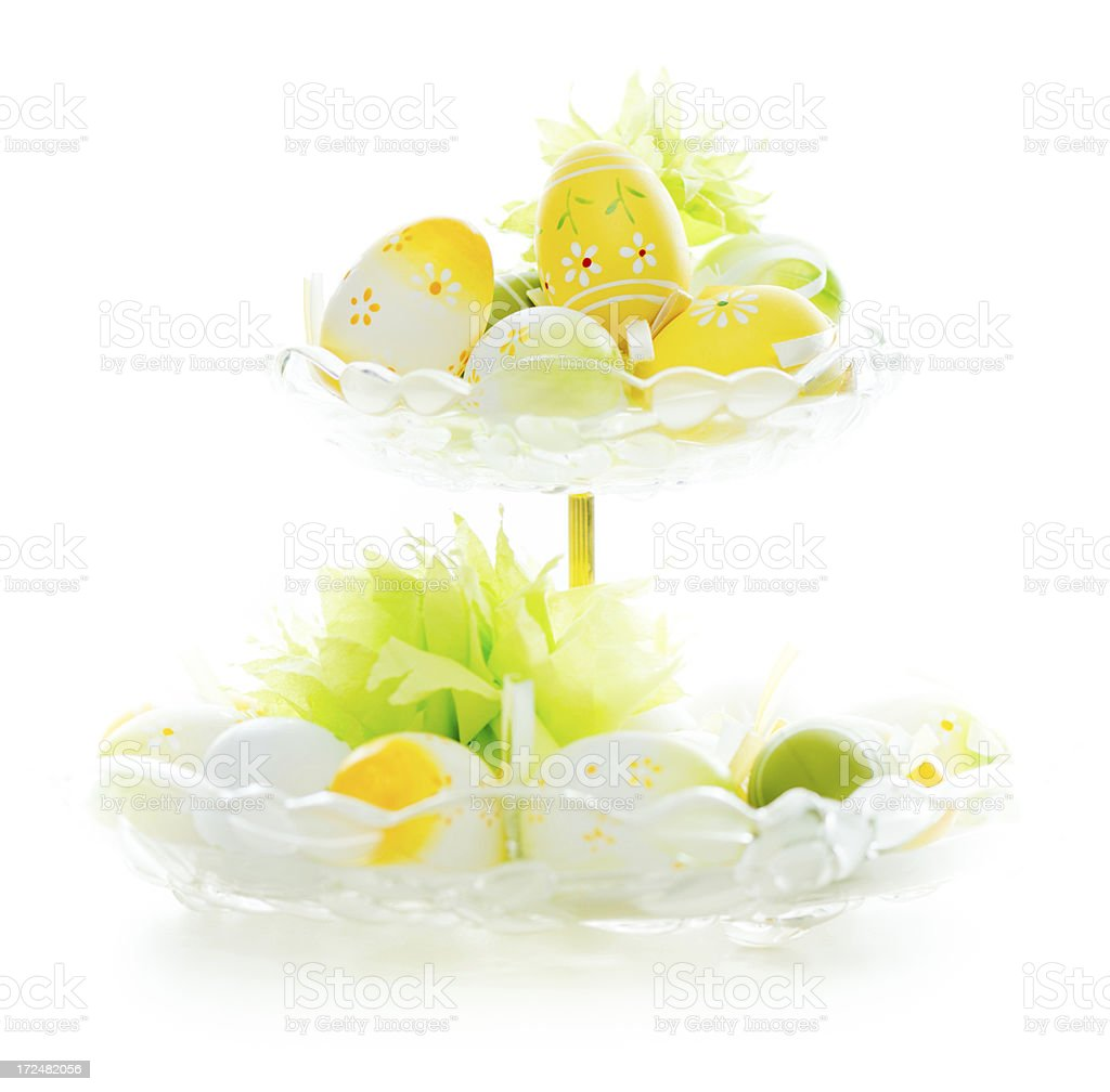Easetr eggs in glass bowl royalty-free stock photo