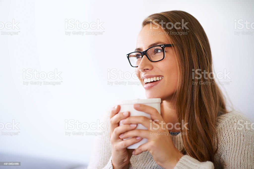 Easing into the day with a nice cup of coffee stock photo