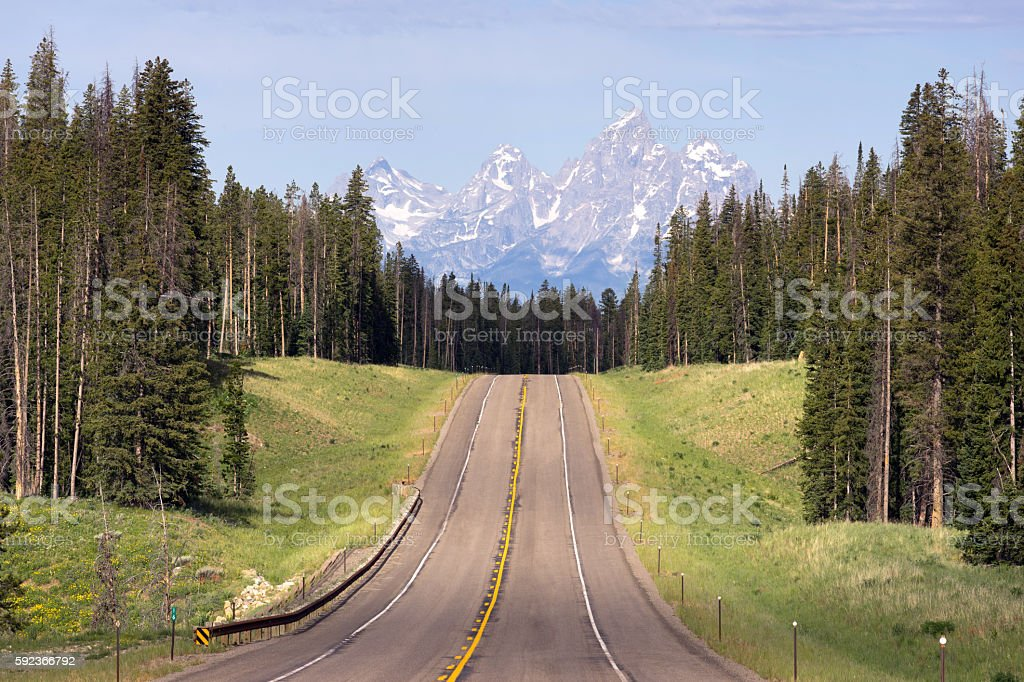 East Approach Highway to Grand Teton National Park stock photo