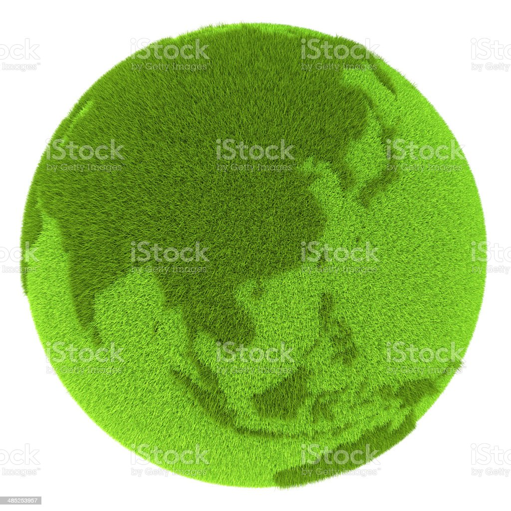 East Asia on green planet stock photo