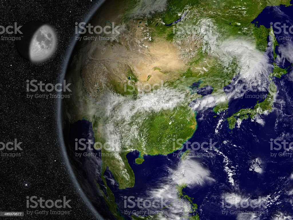 East Asia on planet Earth stock photo